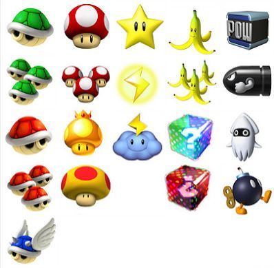 Mario Kart symbols.