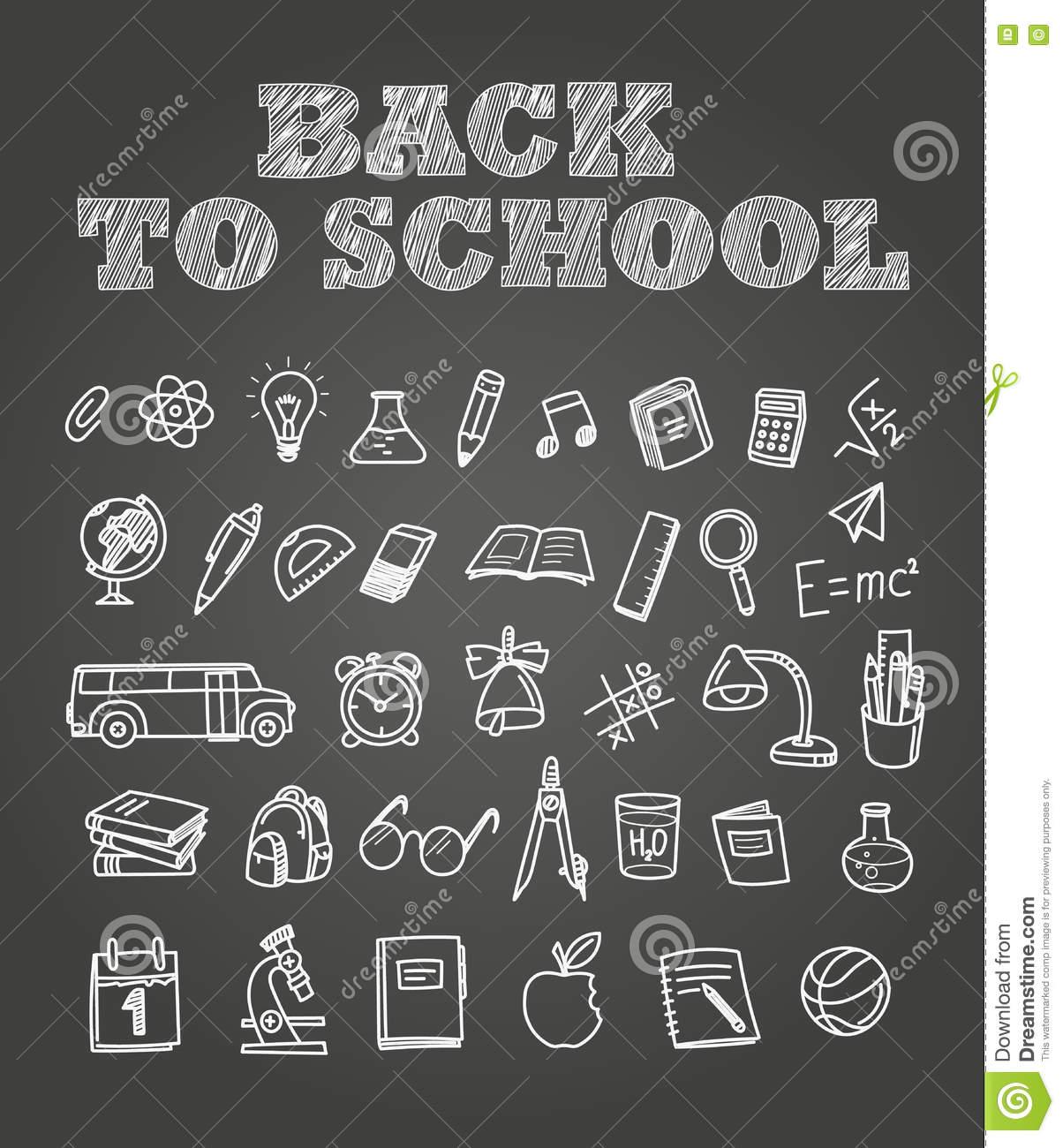 Back To Scholl Chalk Doodles. Education Elements Clip.