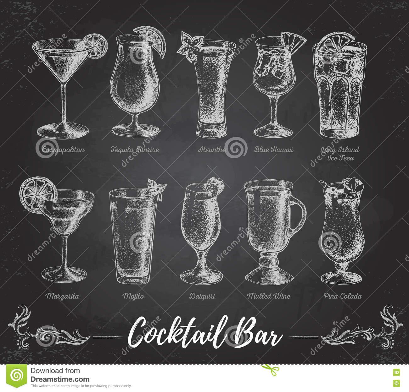 Menu D'annata Della Barra Del Cocktail Del Disegno Di Gesso.