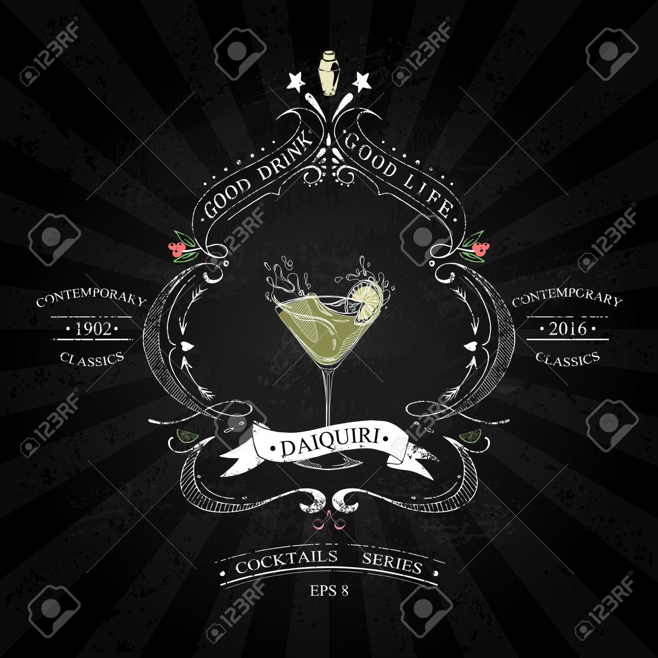 Cocktail Daiquiri In Stile Vintage Stilizzato Disegno Con Il Gesso.