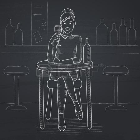 Una Donna Seduta Al Bar E Bere Vino. Disegno A Mano Con Il Gesso.