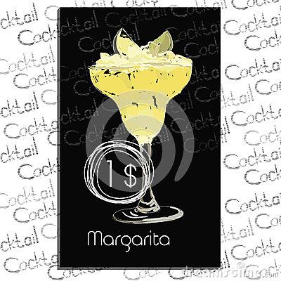 Gesso Del Cocktail Della Margarita Illustrazione Vettoriale.