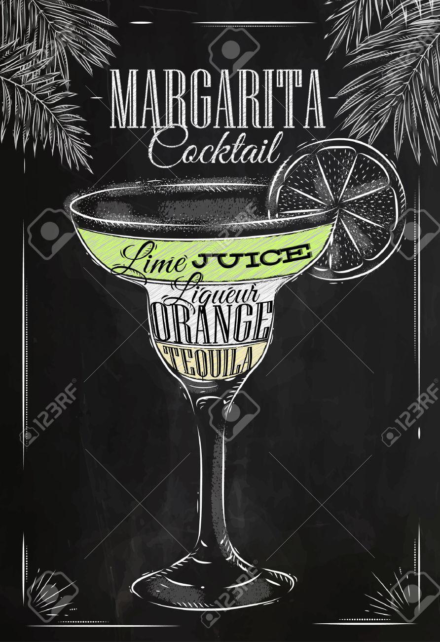Margarita Cocktail In Stile Vintage Stilizzato Disegno Con Il.