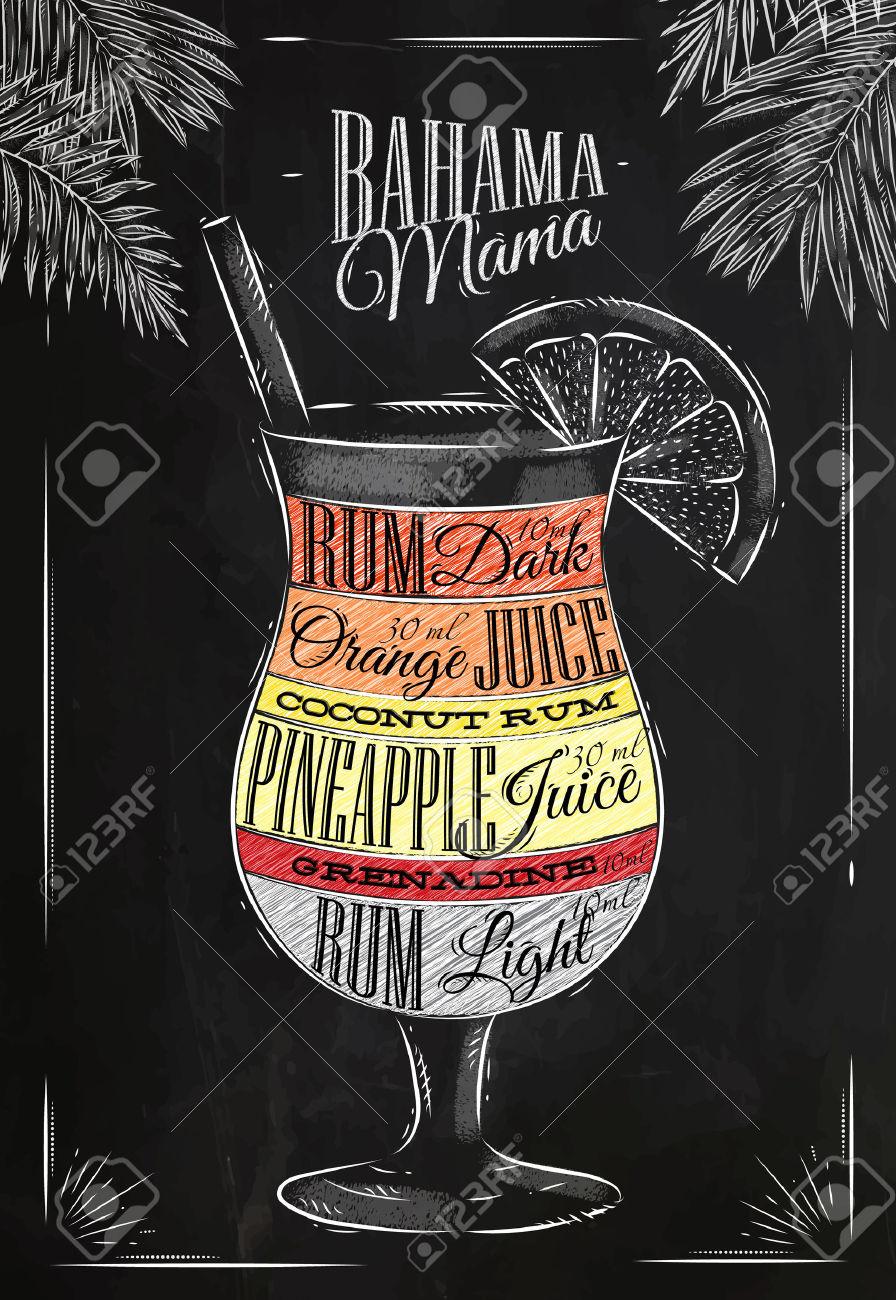 Banama Mama Cocktail In Stile Vintage Stilizzato Disegno Con Il.