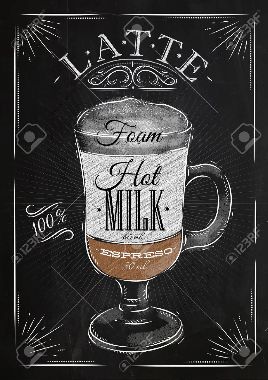 Poster Caffè Latte In Disegno Stile Vintage Con Il Gesso Sulla.