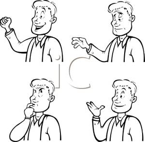 Black and White Cartoon of a Male Depicting Different Gestures.