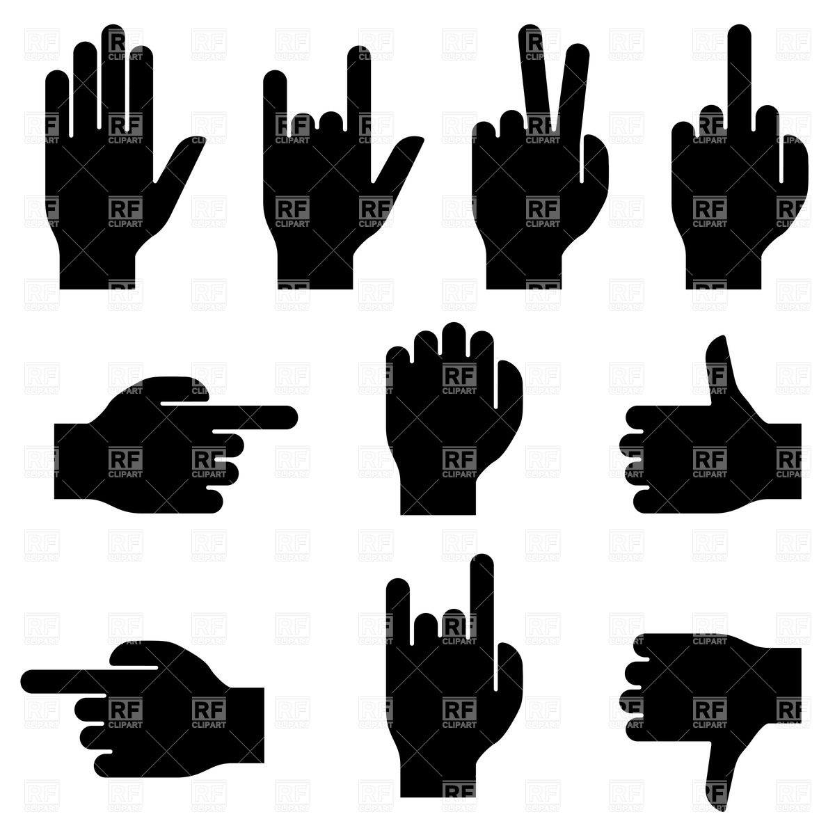 Set of hand gestures Vector Image #26184.