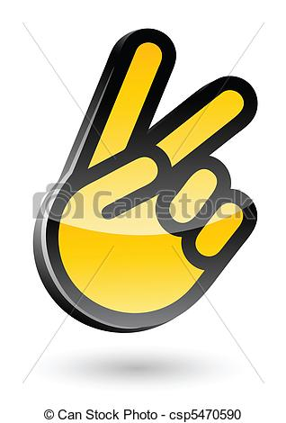 Vector Clipart of gesticulate hand victory sign vector.