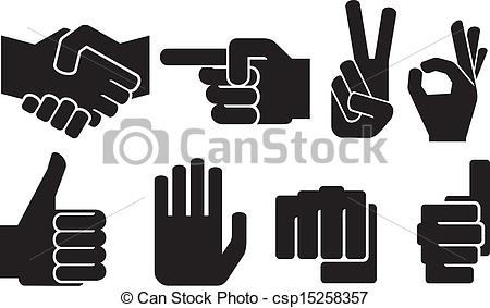 Clipart Vector of human hand sign collection (hand gesture.