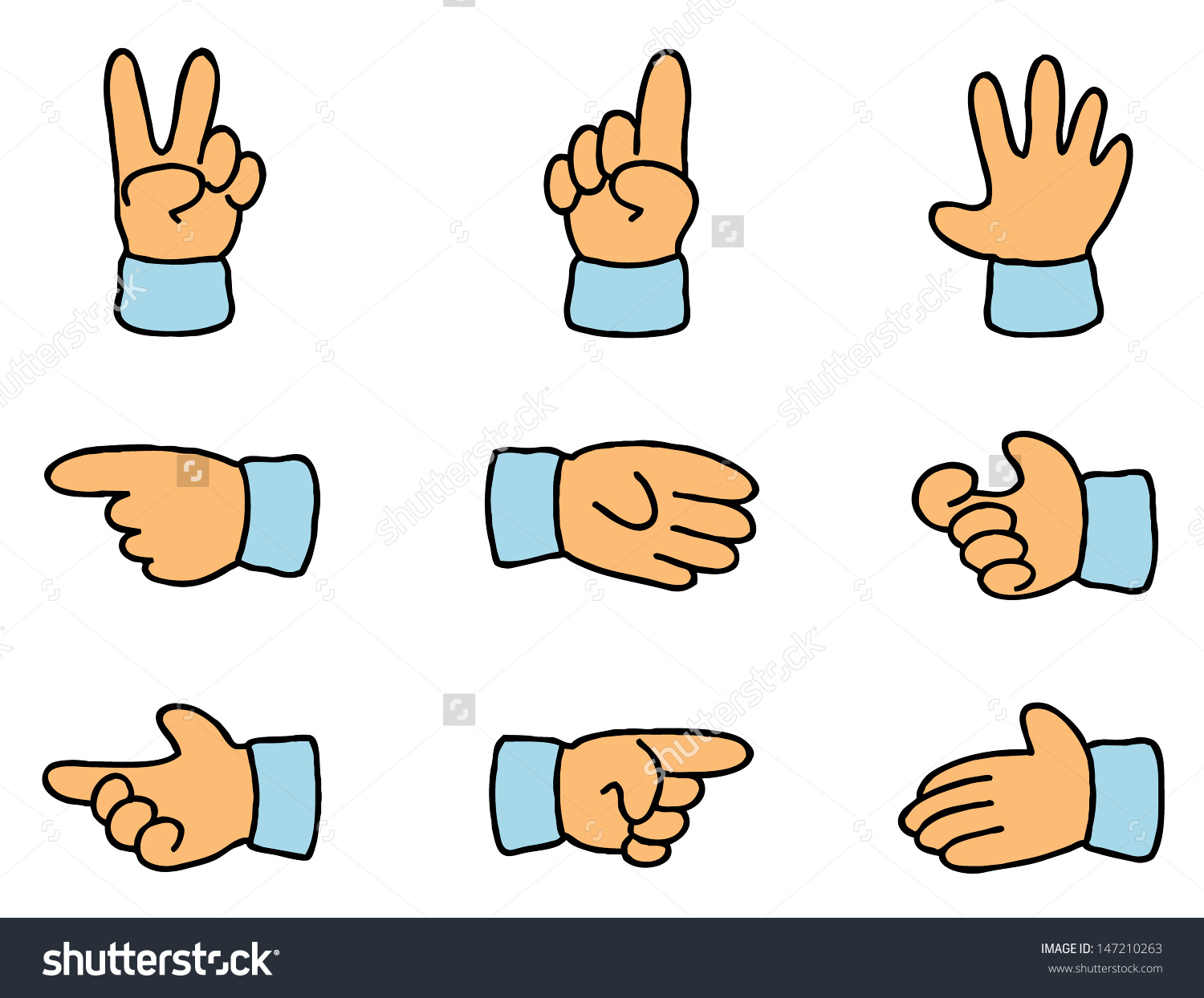 Set Nine Cartoon Hands Different Gesticulation Stock Vector.