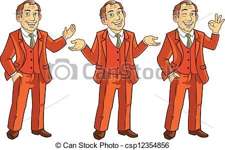 Clipart Vector of Happy Gestures Businessman.