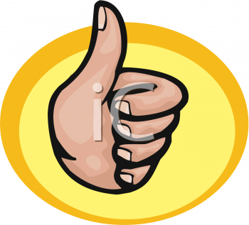 Royalty Free Clip Art Image: Hand Making a Thumbs Up Gesture.