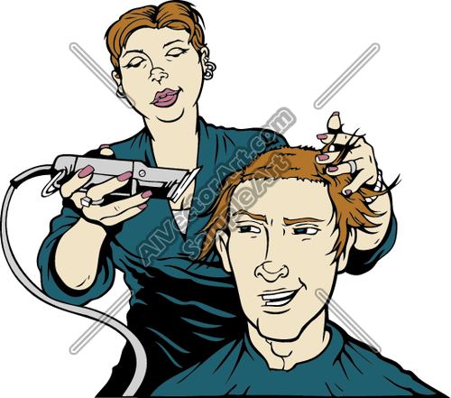 Haircut Clipart and Vectorart: Occupations.