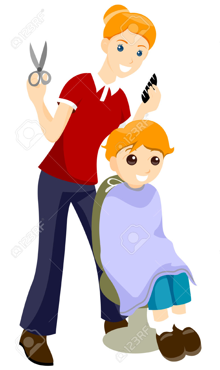 Man getting haircut clipart.