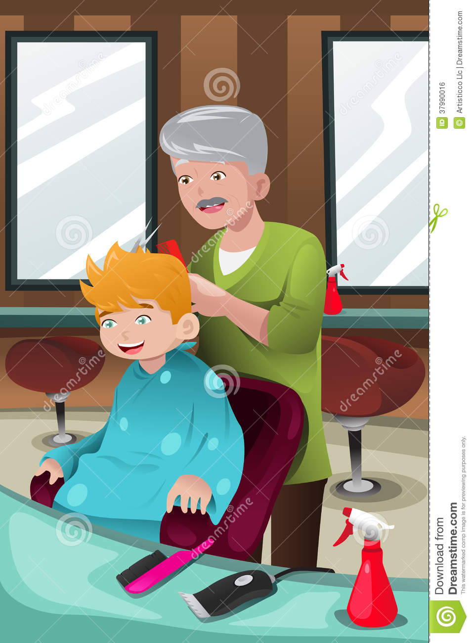 Kids Getting Haircut Clipart.