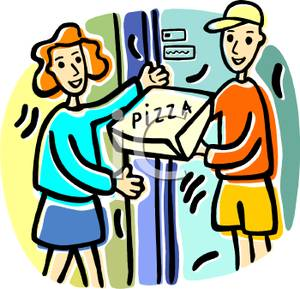 Art Image: A Woman Getting Pizza Delivery.