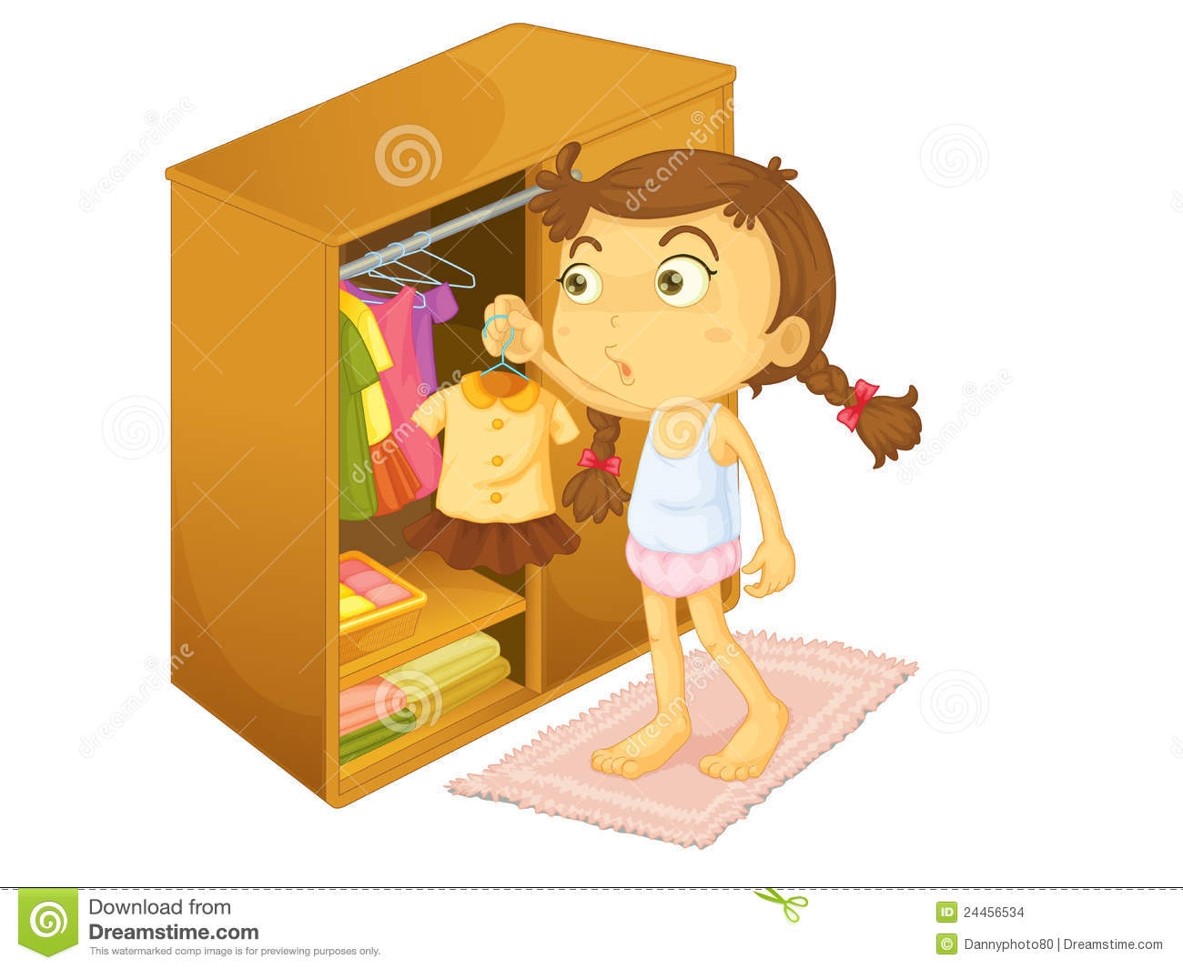 Girl Getting Dressed In The Morning Clipart.