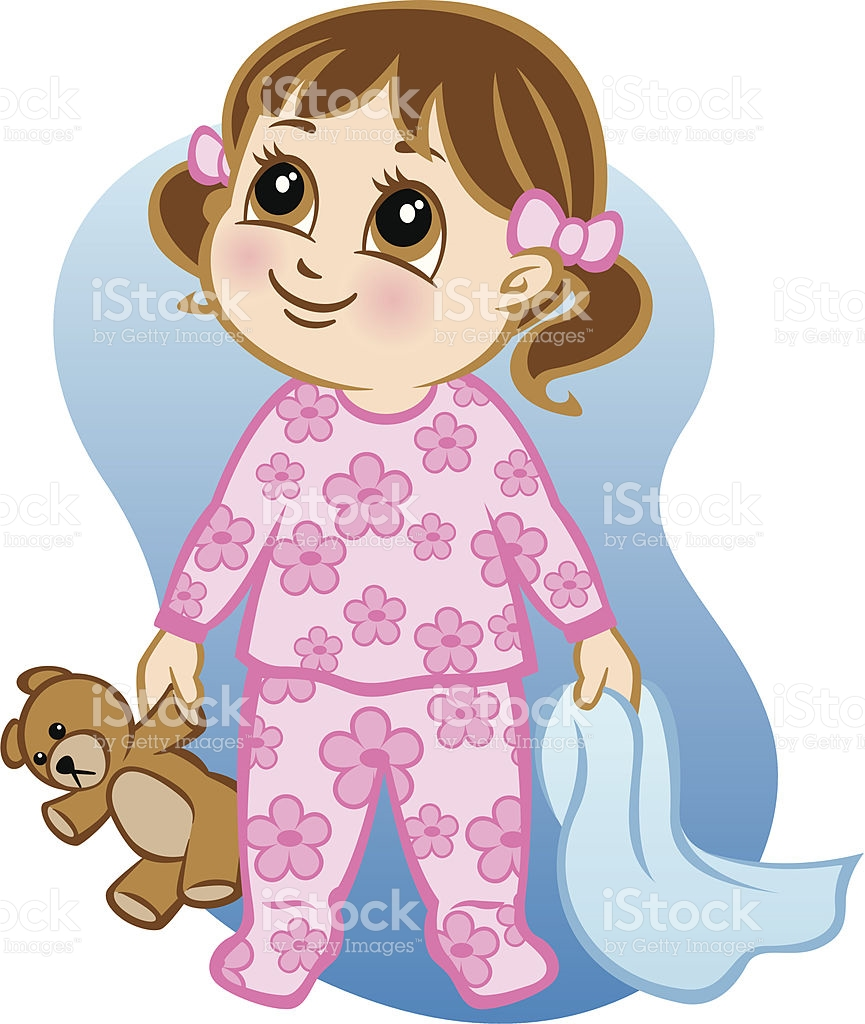 Girl Getting Ready For Bed Clipart.