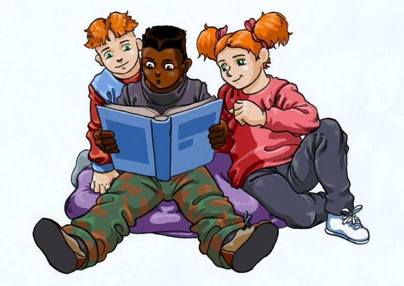 Kids Reading Together Clipart.