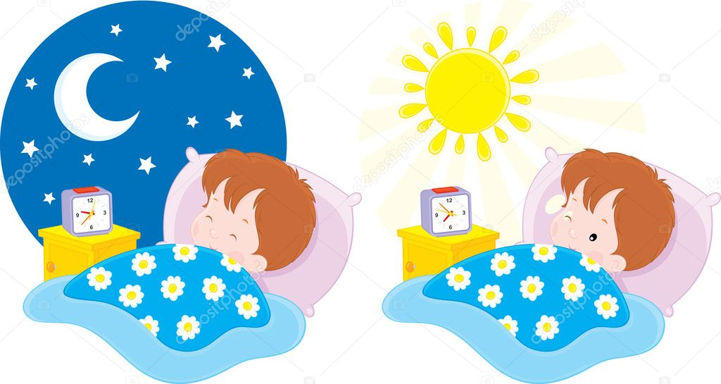 Clipart: boy wake up.