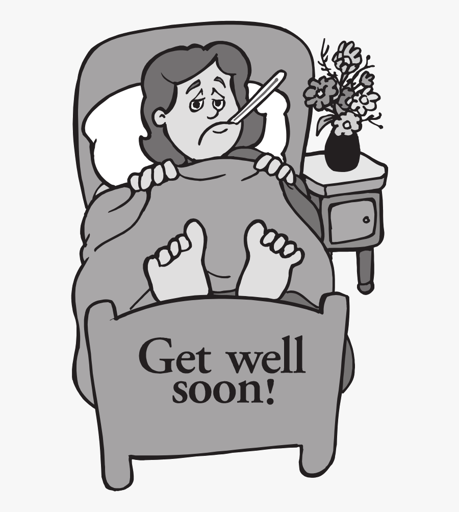 Transparent Get Well Soon Clipart Black And White.