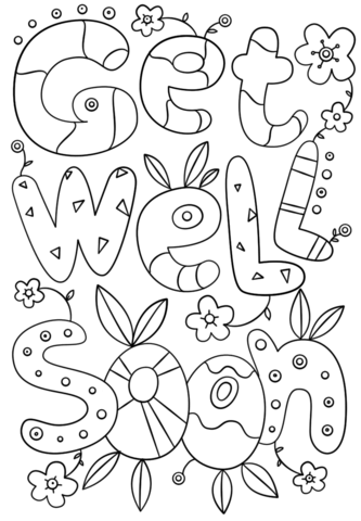 Get Well Soon Doodle coloring page.