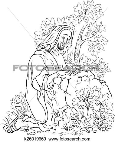 Clip Art of Prayer of Jesus. Gethsemane garden k26019669.