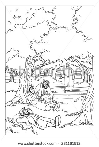 Jesus Praying In Gethsemane Clipart.