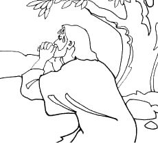 This free coloring page shows Jesus in the Garden of Gethsemane.
