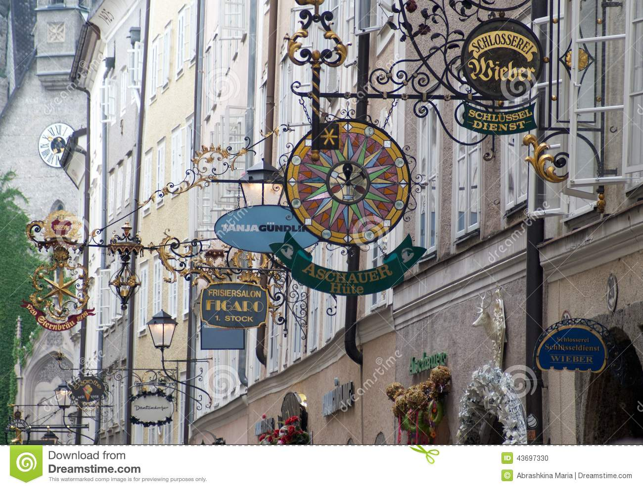 Getreidegasse Street In Salzburg Editorial Image.