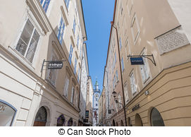 Stock Images of Getreidegasse (also known as Grain Lane) is a busy.