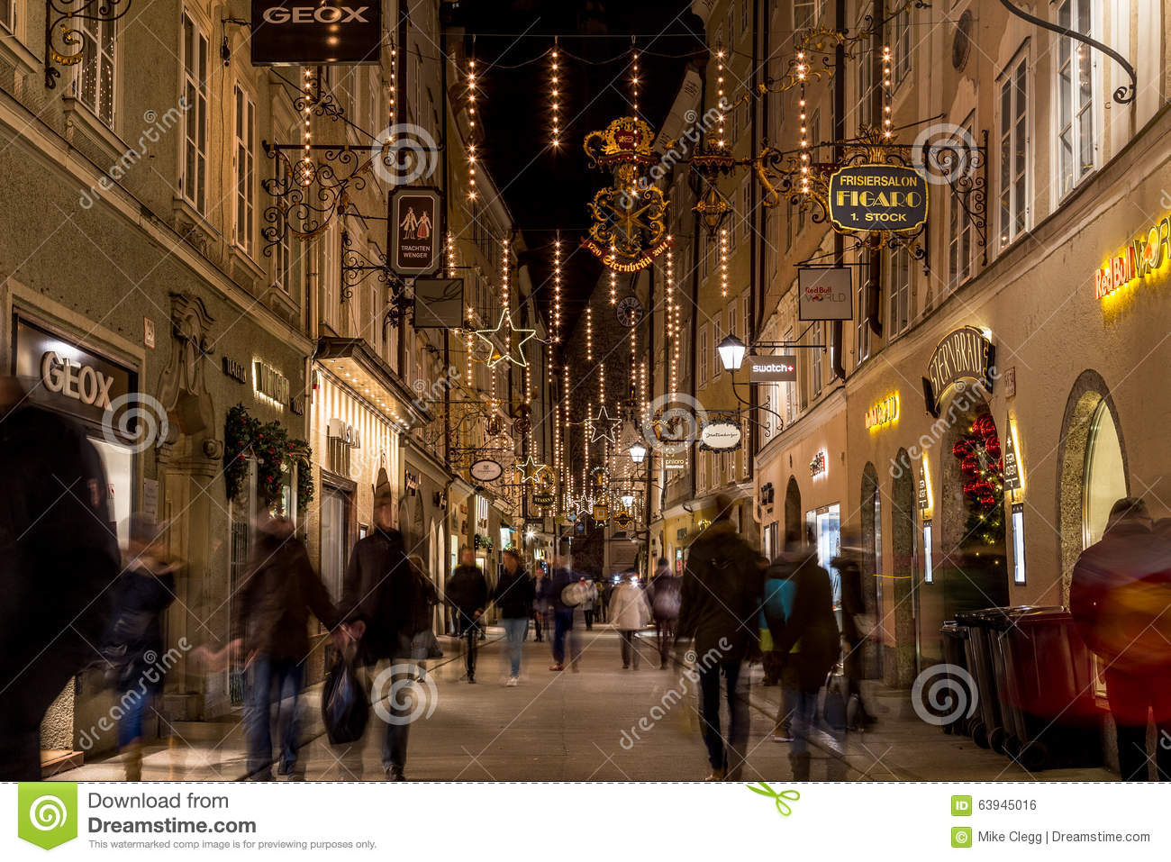 Getreidegasse In Salzburg At Christmas Editorial Photo.