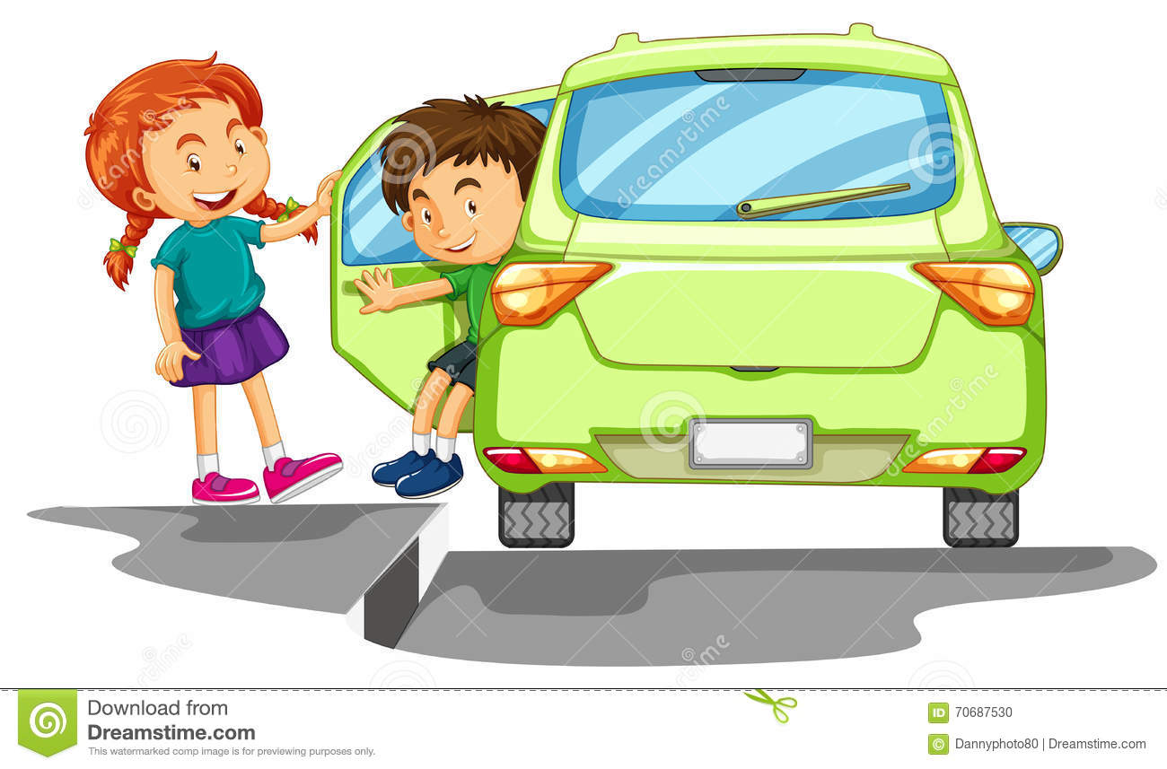 Boy Getting Out Of Green Car Stock Vector.