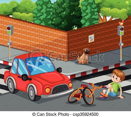 Vector Clipart of Scene with car crashing bicycle and boy getting.