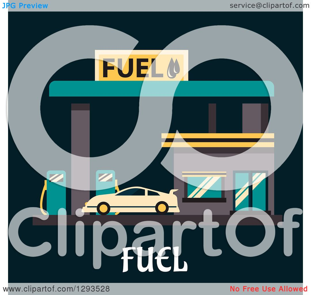 Clipart of a Flat Modern Design of a Car Getting Fuel at a Gas.