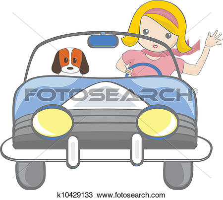 Clipart of Girl driving car k9436933.