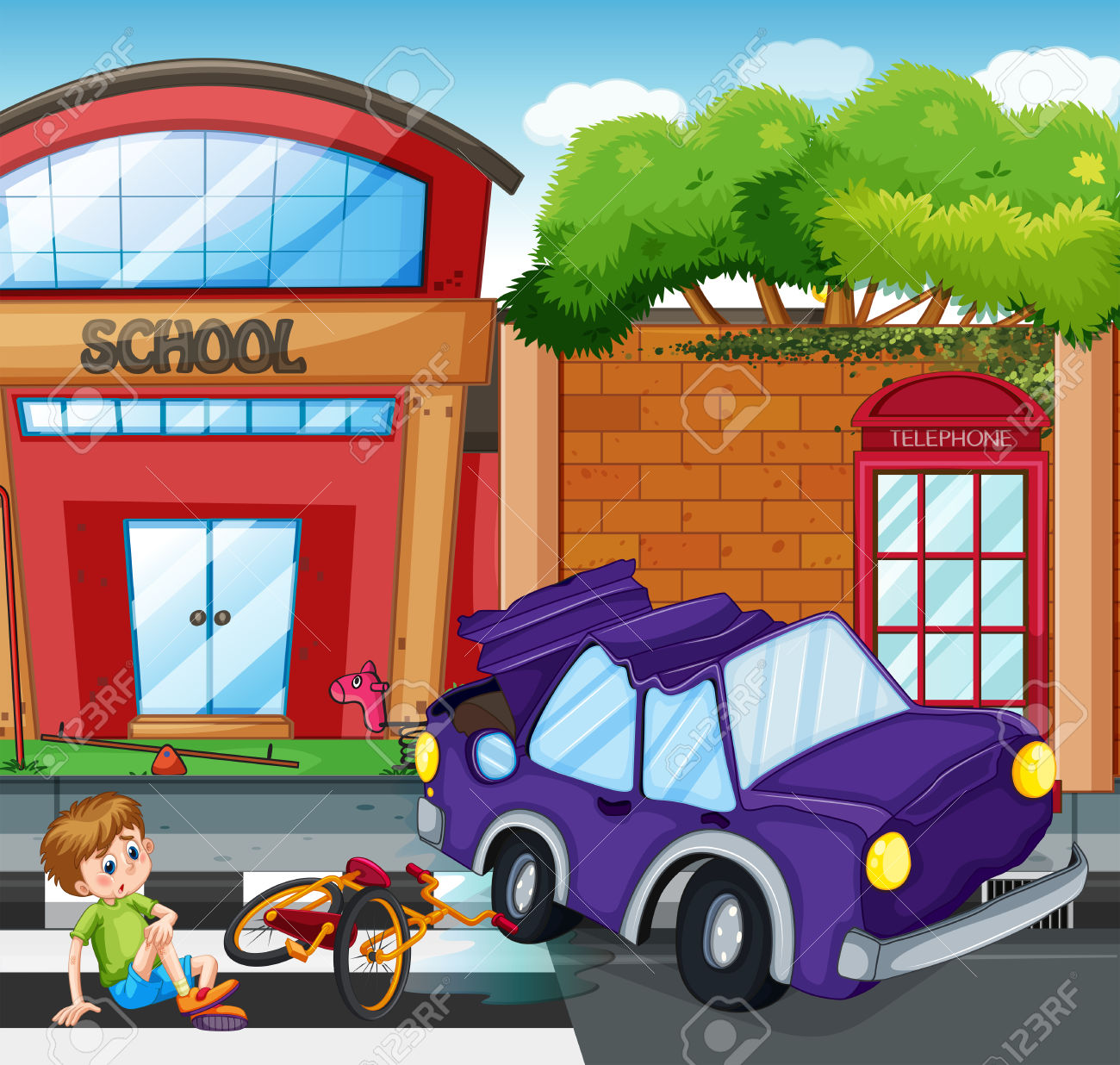 Accident Scene With Boy Getting Hurt Illustration Royalty Free.