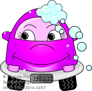 Cute Little Cartoon Car With Bubbles and a Smile As It Gets a Car.