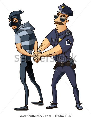 Caught The Criminal Police Officer Arrested Thief Stock Vector.
