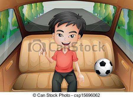 Clip Art Vector of A boy inside the car with a soccer ball.