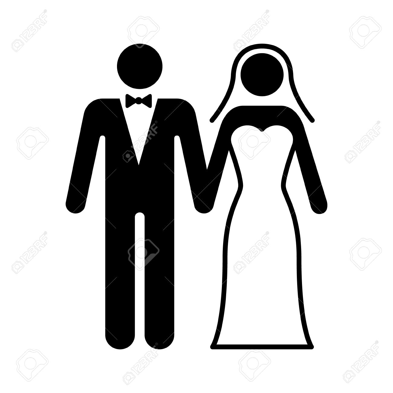 A couple getting married at a wedding ceremony flat icon for...