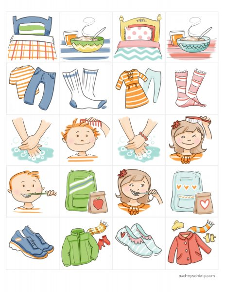 Free clip art images for getting ready for school charts.