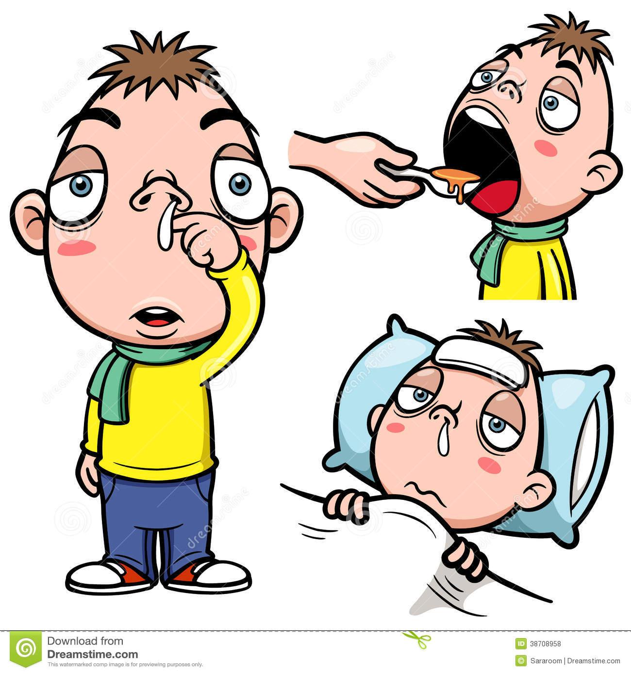 Children Sick Sickness Ill Illness Disease Flu Clipart Stock.