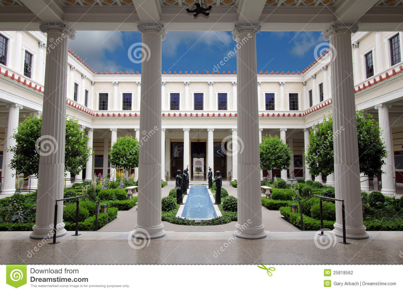 Getty Villa Inner Courtyard Editorial Photography.