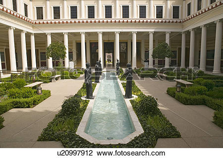 Stock Photo of Colonnade and long pool of the Getty Villa, Malibu.