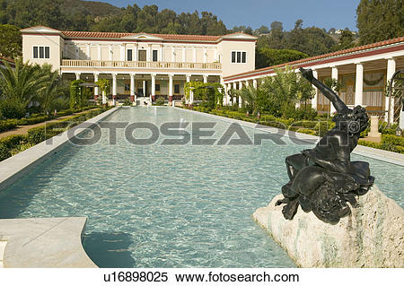 Stock Image of Colonnade and long pool of the Getty Villa, Malibu.