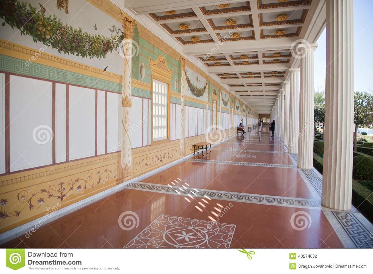 Hallway, Getty Villa, Malibu, California Editorial Stock Image.
