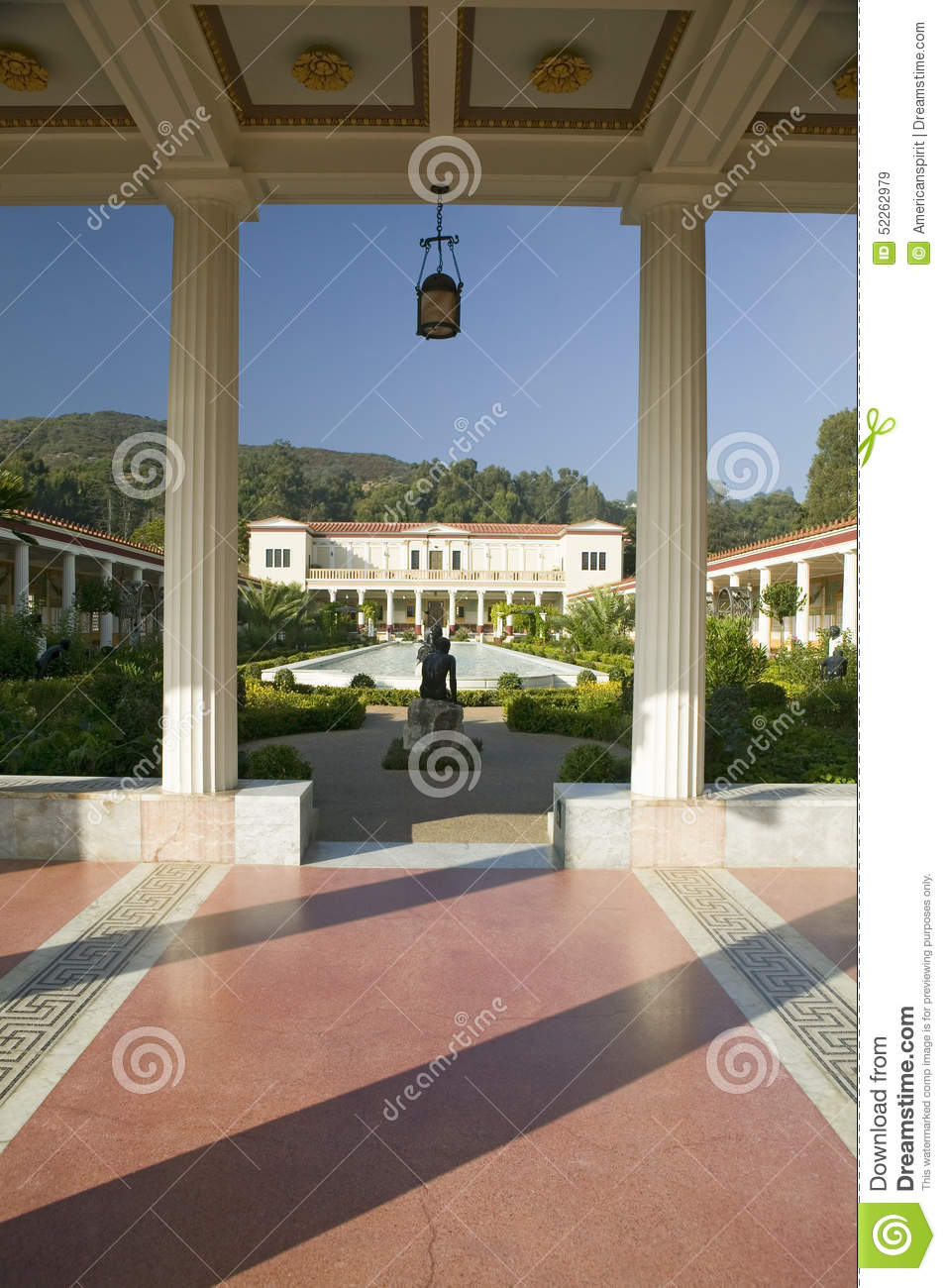 Colonnade And Long Pool Of The Getty Villa, Malibu Villa Of The J.