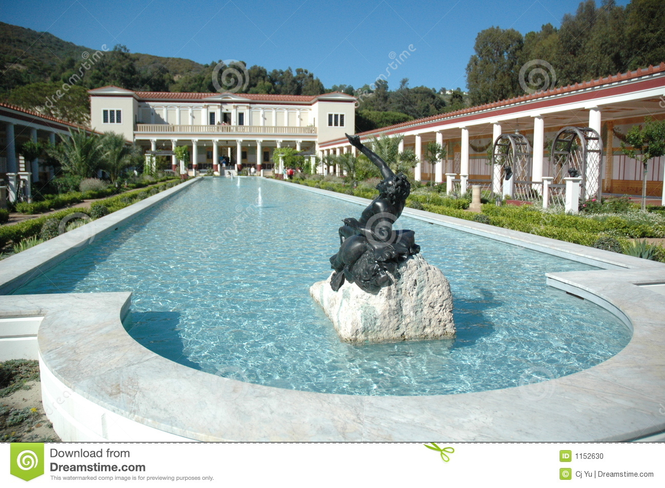 Getty Villa Mansion Stock Photo.