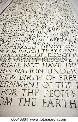 Stock Photo of Engraving of the Gettysburg Address at the Lincoln.